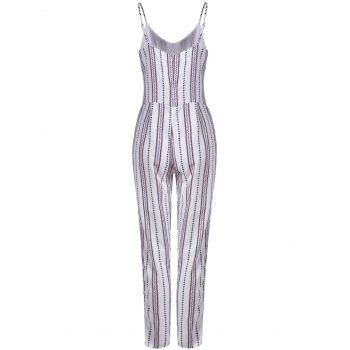 Chic Striped Sleeveless Jumpsuit For Women - WHITE XL