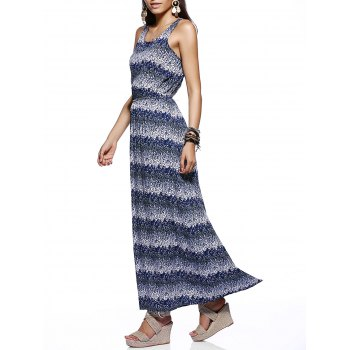 Chic Scoop Neck Tie Dye Print Dress For Women