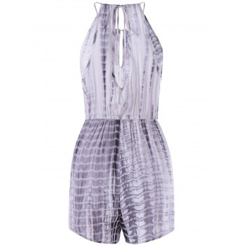 Fashionable Women's Tie-Dye Cut Out Sleeveless Casual Romper - GREY/WHITE L