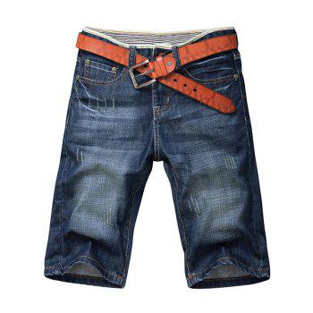 Men's Whisker Design Zip Fly Straight Legs Denim Shorts