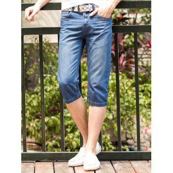 Men's Whisker Printed Zip Fly Straight Legs Denim Shorts