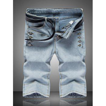Buy Men's Solid Color Button Design Zip Fly Straight Legs Denim Shorts LIGHT GRAY