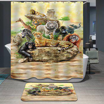 Hot Sale Animal World Pattern Printing Waterproof Shower Curtain