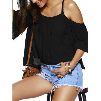 Spaghetti Strap Solid Color Loose Fitting Blouse