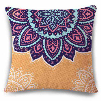 High Quality Ethnic Flower Design Linen Square Shape Pillowcase