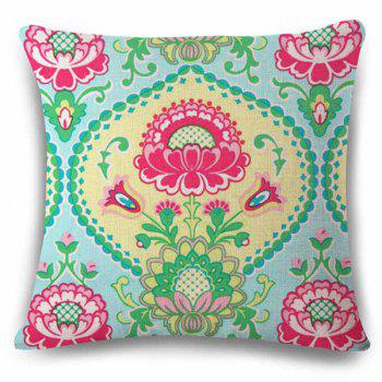 Traditional Ethnic Style Flower Pattern Square Shape Pillowcase