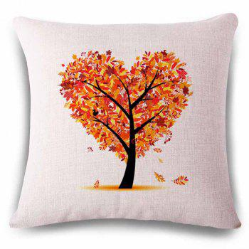 Hot Sale Heart Shape Tree Color Drawing Pattern Linen Square Shape  Pillowcase