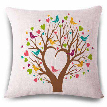 Abstract Heart Shape Tree Birds Color Drawing Pattern Linen  Pillowcase