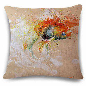 Stylish Goldfish Bubble Watercolor Painting Embellished Square Shape Pillowcase