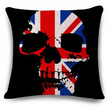 Fashionable The British Flag Skeleton Design Linen Pillowcase
