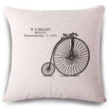 Simple Design Bicycle Wheel Letter Pattern Square Shape Pillowcase