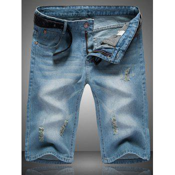 Men's Ripped Cat's Whisker Design Zip Fly Straight Legs Denim Shorts