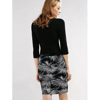 Belted Firework Print Pencil Dress - BLACK S