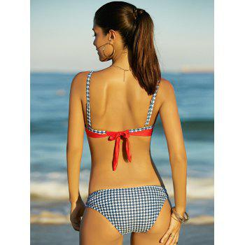 Bowknot Fashionable Houndstooth Splicing Women's Bikini Set - RED S