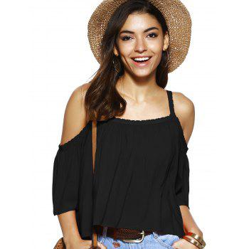 Spaghetti Strap Solid Color Blouse ample - Noir XL