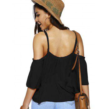 Spaghetti Strap Solid Color Loose Fitting Blouse - BLACK M