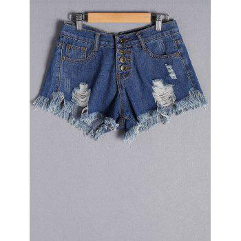 Fashion Ripped Button Fly Denim Shorts For Women