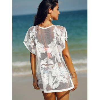 Trendy See-Through Laced Cover Up For Women - WHITE ONE SIZE(FIT SIZE XS TO M)