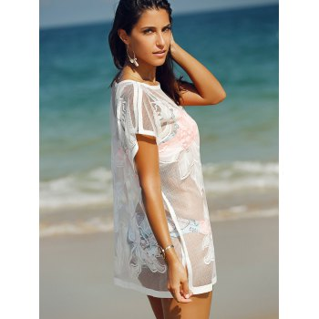 Trendy See-Through Laced Cover Up For Women - WHITE WHITE
