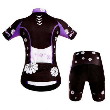 Fashionable Violet Pattern Women's Short Sleeve Jersey + Shorts Outdoor Cycling Suits - COLORMIX XL