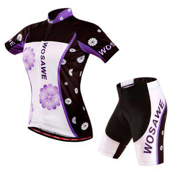 Fashionable Violet Pattern Women's Short Sleeve Jersey + Shorts Outdoor Cycling Suits - COLORMIX L