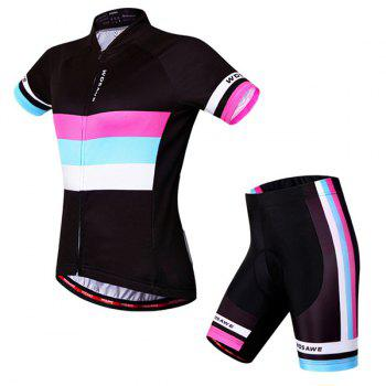 Hot Sale Simple Style Women's Short Sleeve Jersey + Shorts Outdoor Cycling Suits - COLORMIX XL