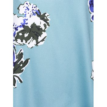 Sexy Women's Floral Print  Cascades Cami Dress - LIGHT BLUE XL