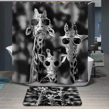 Novelty Giraffe Printing Waterproof Shower Curtain