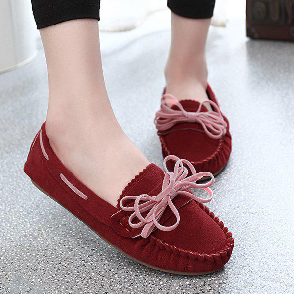 Leisure Stitching and Suede Design Women's Flat Shoes - RED 39