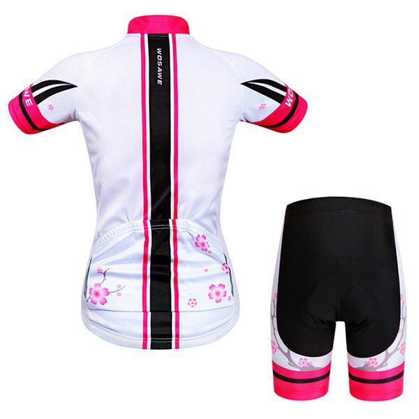 Chic Quality Plum Blossom Pattern Short Sleeve Jersey + Shorts Outdoor Cycling Suits For Women - COLORMIX S