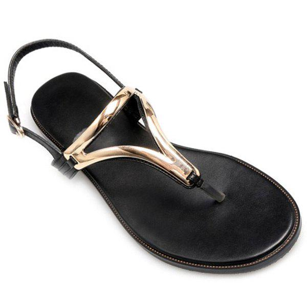 Leisure Flip-Flop and Flat Heel Design Women's Sandals - BLACK 39