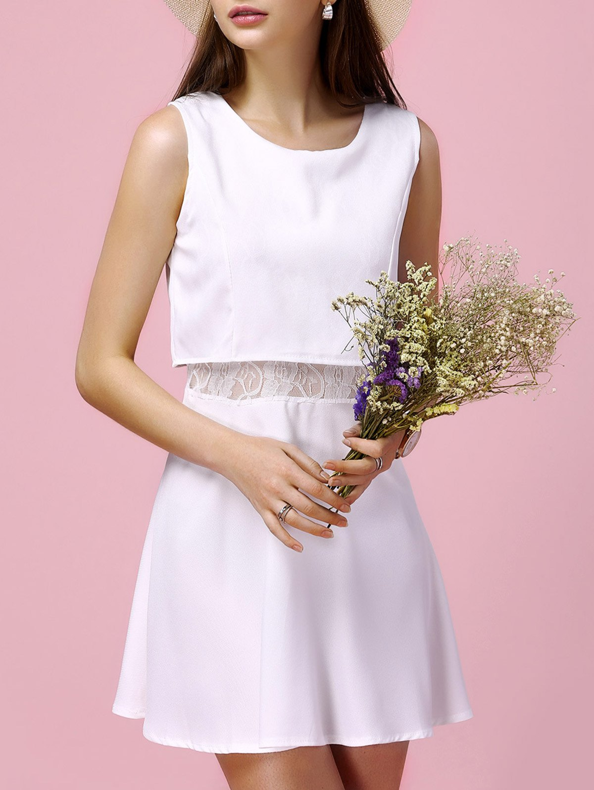 Charming Sleeveless Round Neck Furcal Slimming Lace Spliced Women's Dress