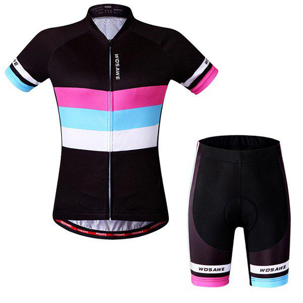 Hot Sale Simple Style Women's Short Sleeve Jersey + Shorts Outdoor Cycling Suits - COLORMIX L