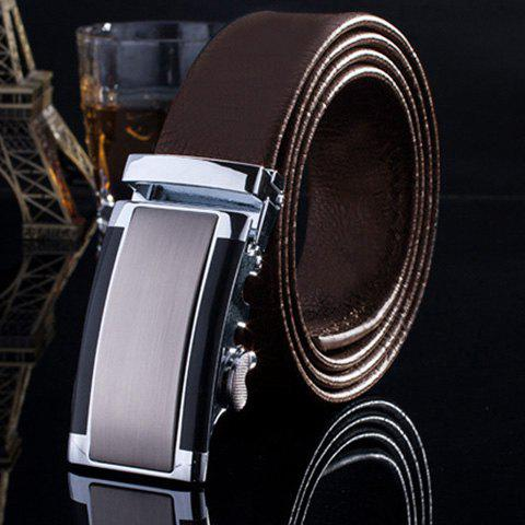 Stylish Smooth Rectangle Inlay Automatic Buckle Formal Occasion Men's Belt - COFFEE