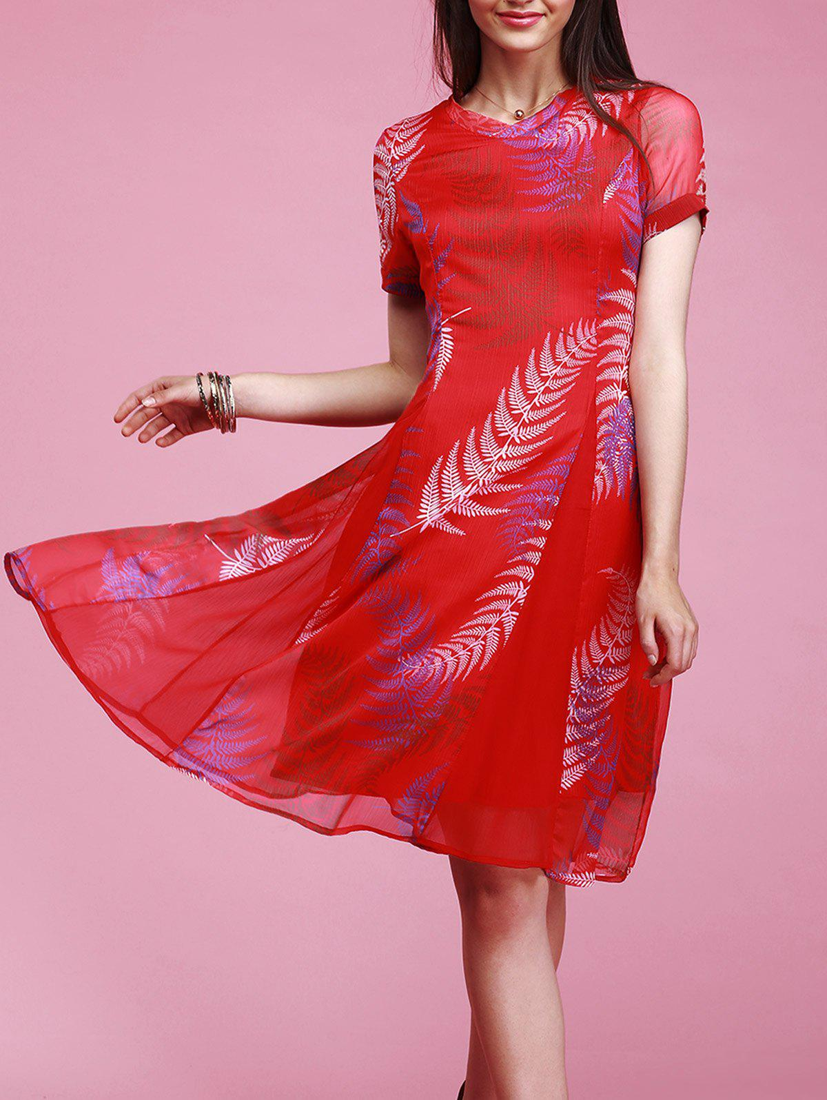 Fashionable Women's V-Neck Short Sleeve Feather Print Dress - RED XL