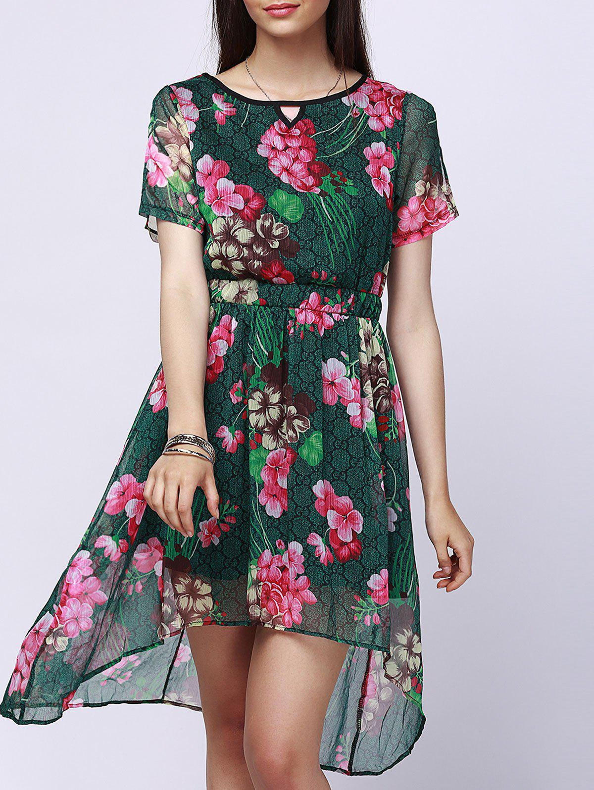 Gorgeous Jewel Neck Short Sleeve Floral Print High Low Dress For Women - GREEN M