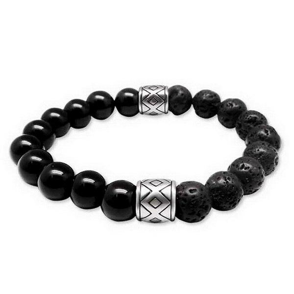 Simple Etched Vesuvianite Prayer Bead Bracelet For Men - BLACK