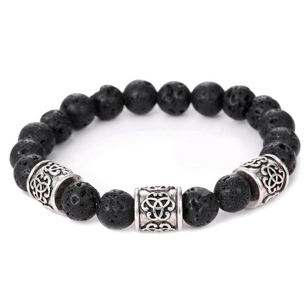 Simple Etched Vesuvianite Buddha Beads Bracelet For Men - BLACK