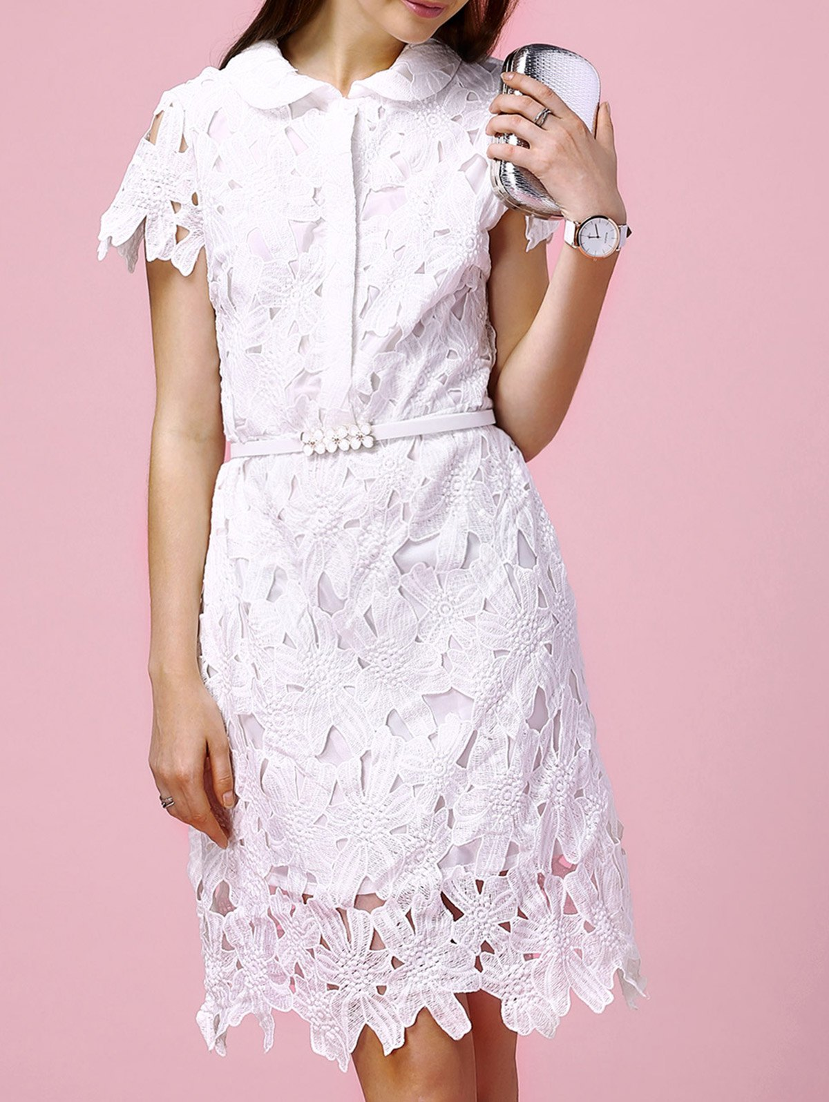 Cute Peter Pan Collar Hollow Out Slimming Floral Embroidery Women's Dress - WHITE M