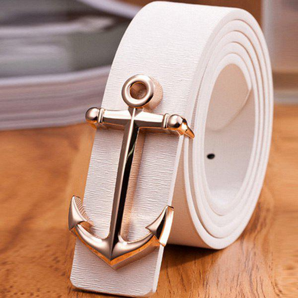 Stylish Golden Boat Anchor Shape Embellished Men's PU White Belt