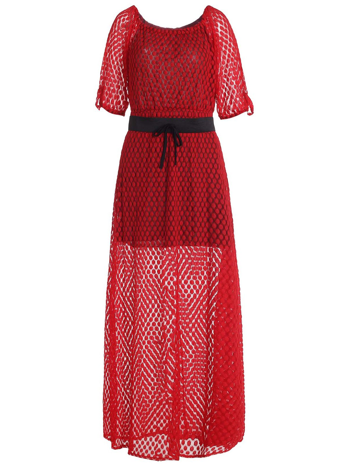 Charming Printed Slash Neck 3/4 Sleeve Dress For Women - RED XL