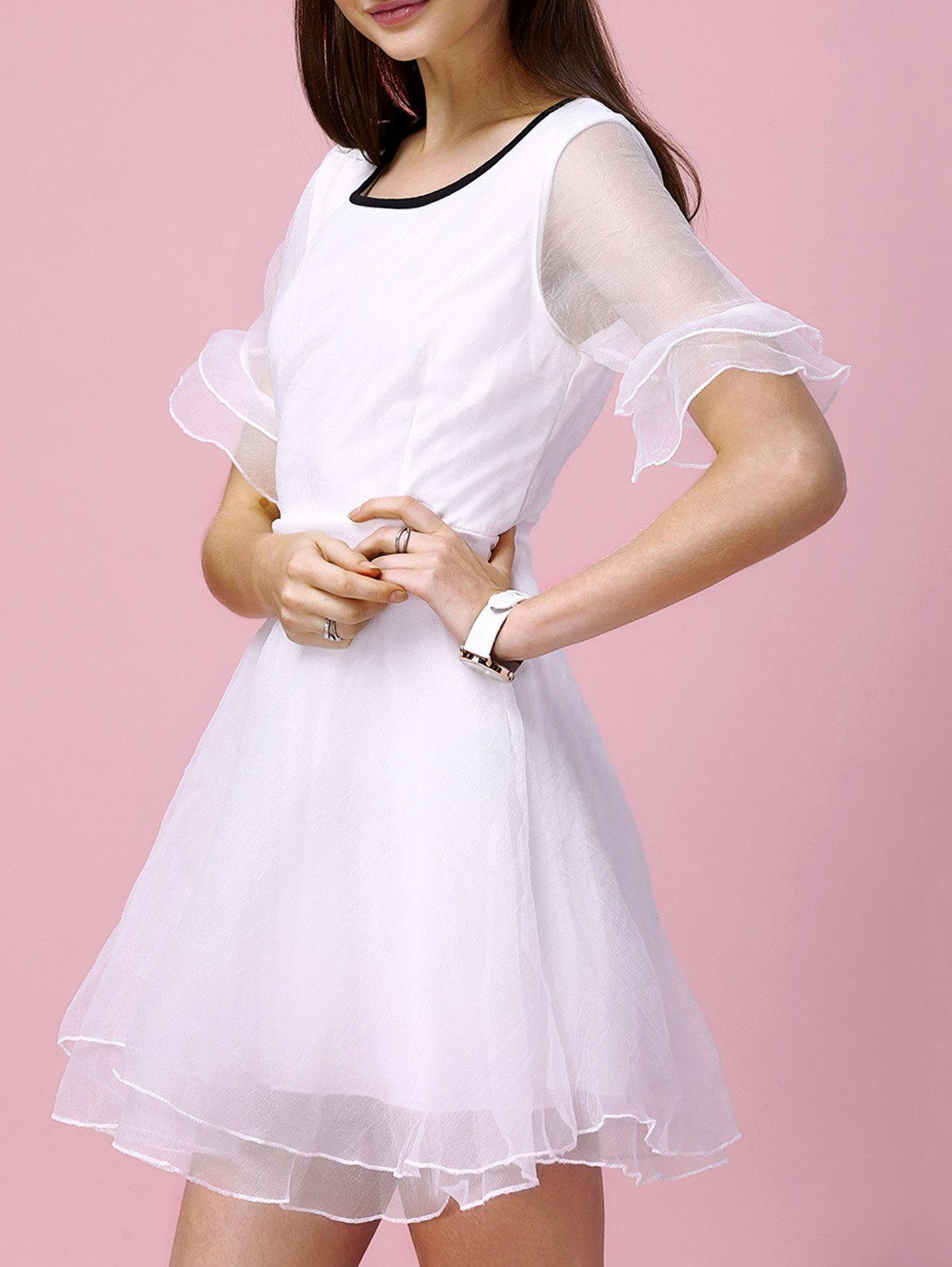 Sweet Bell Sleeve Layered Slimming Voile Spliced Women's Dress