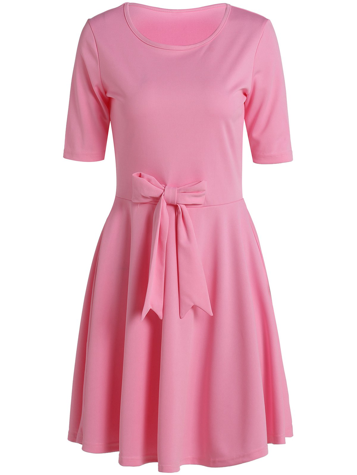 Chic 1/2 Sleeve Round Neck Solid Color Bowknot Embellished Women's Dress - PINK M