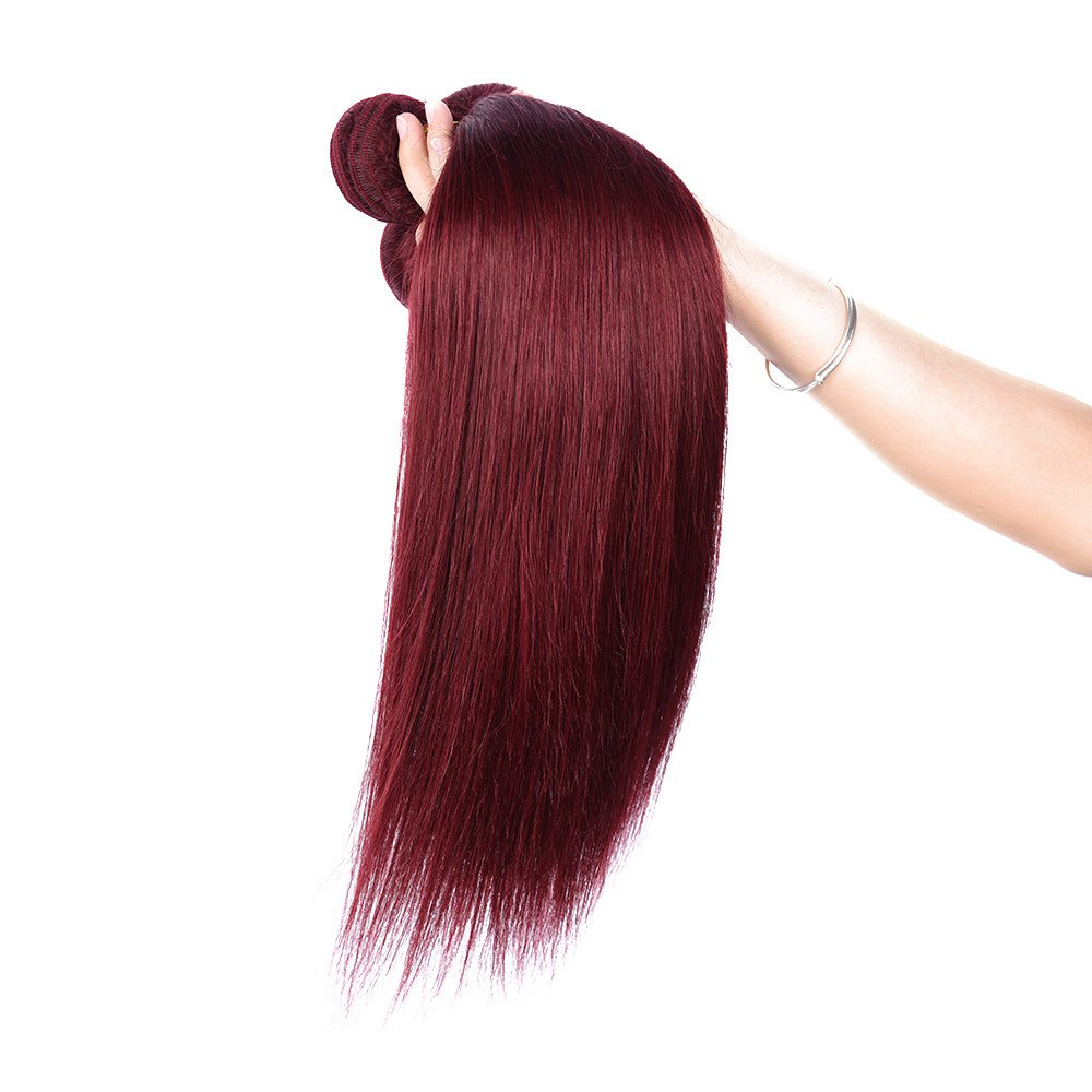 Fashion 1 Pcs Silky Straight Brick Red 6A Virgin Brazilian Hair Weave For Women - BRICK RED 10INCH