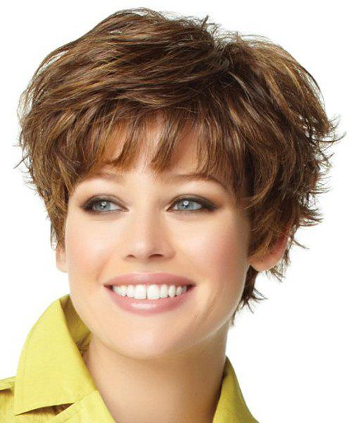 Fluffy Full Bang Synthetic Short Wig For Women - COLORMIX