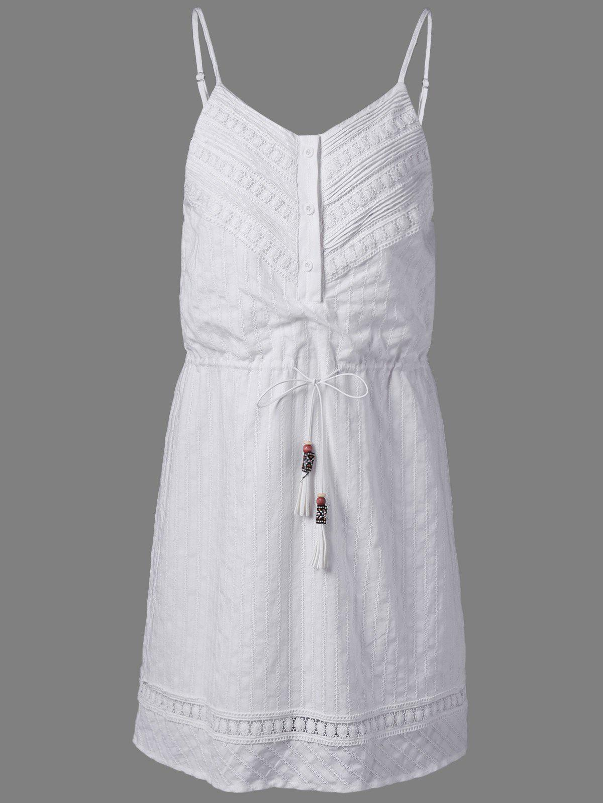 Stylish Cotton Jacquard Harness Dress For Women - NATURAL WHITE LIGHT L