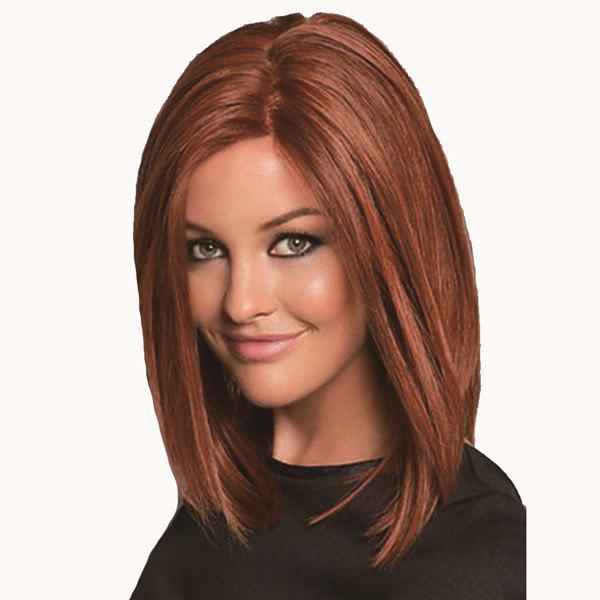Fashion Straight Middle Part Medium Kanekalon Synthetic Wig For Women - LIGHT BROWN
