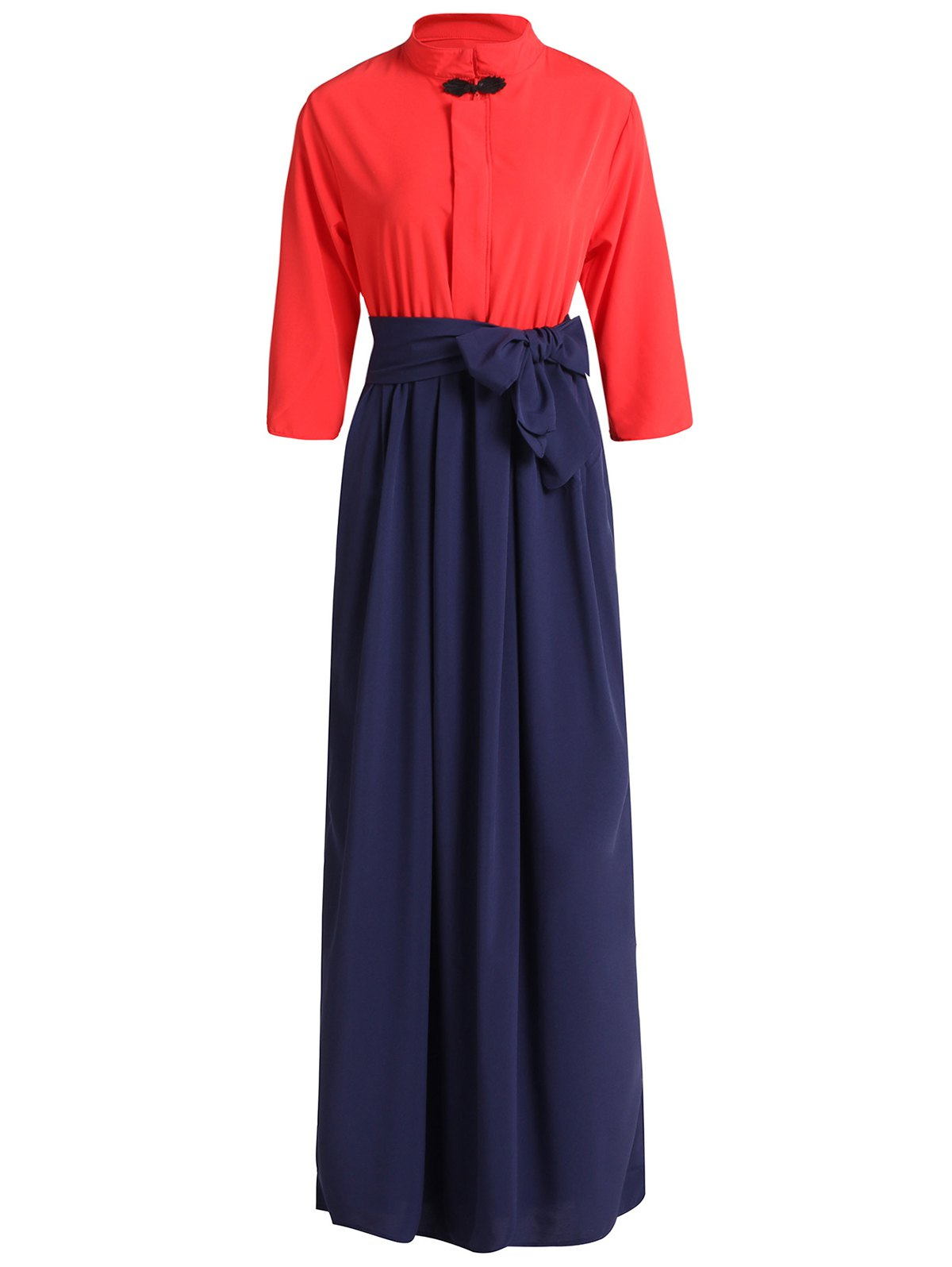 Sweet Bowknot Stand Collar 3/4 Sleeve Dress For Women - RED XL