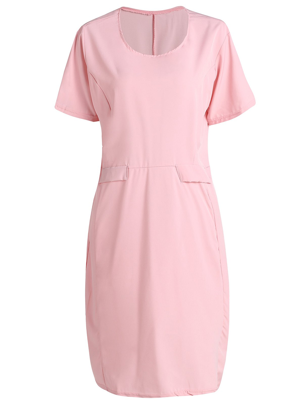 Graceful Pink Round Collar Short Sleeve Dress For Women - XL PINK