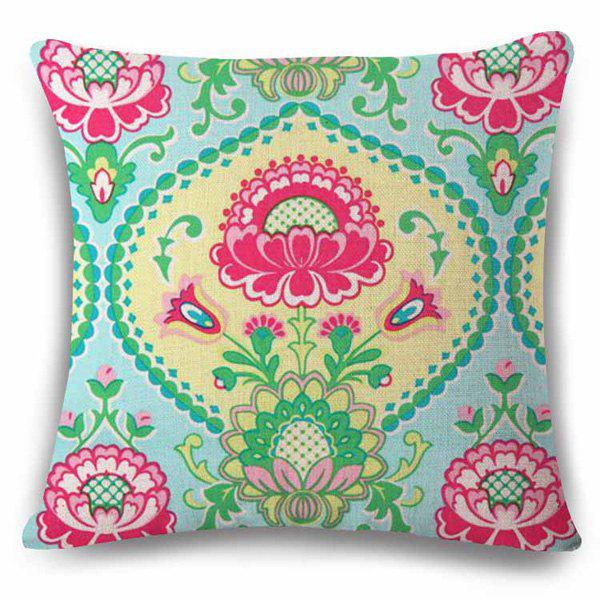 Traditional Ethnic Style Flower Pattern Square Shape Pillowcase traditional ethnic flower design linen square shape pillowcase